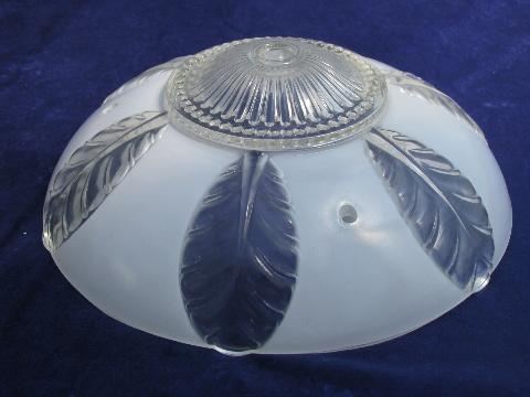 Art Deco Leaves Pattern Glass Lamp Shade For Old Ceiling