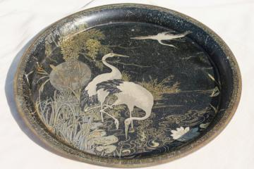 art deco metal tray w/ cranes in the moonlight litho print, vintage cocktail serving tray
