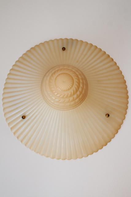 art deco opalescent milk glass pendant light shades, funeral lamp peach luster tint