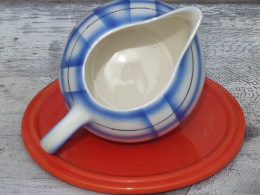art deco orange trivet & blue plaid cream pitcher, vintage Czech china