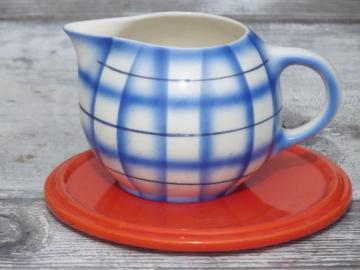 art deco orange trivet & blue plaid cream pitcher, vintage Czech china