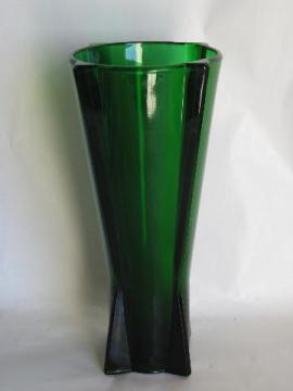 art deco shape vintage forest green depression glass flower vase