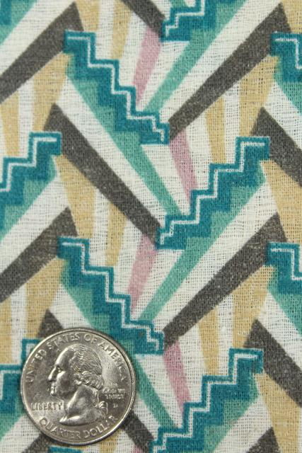 art deco style geometric print textured cotton fabric, mid-century vintage
