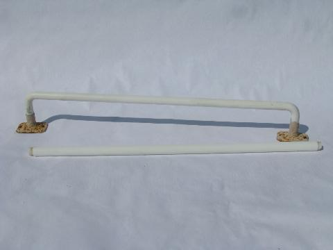 art deco vintage 1930s white glass towel bar rods for powder room or kitchen sink