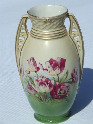 Art Deco Vintage Austria Porcelain Vase China Urn W Tulips Floral