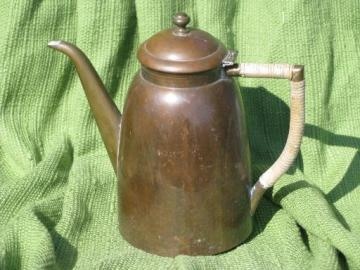 art deco vintage Eskilstuna - Sweden copper tea / coffee pot, engraved 1935