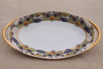 art deco vintage French Haviland china celery tray, oblong bowl w/ peacocks