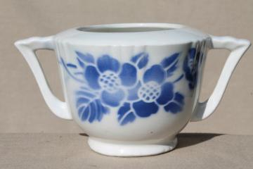 art deco vintage French sugar bowl, blue & white nordic pattern china Orchies France