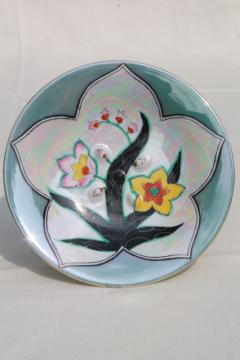 art deco vintage Japan porcelain pedestal plate w/ Clarice Cliff style hand painted design