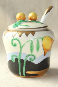 art deco vintage Noritake china jam pot, orange & black mod floral design