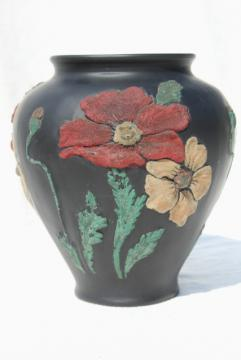 art deco vintage Tiffin glass vase, black satin puffy glass w/ coralene poppies floral