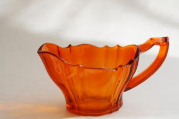 art deco vintage West Virginia glass, flame orange colored glass cream pitcher
