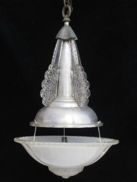 art deco vintage aluminum & glass pendant light, antique electric hanging lamp
