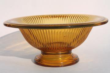 art deco vintage amber glass centerpiece bowl, heavy ribbed glass center footed shape