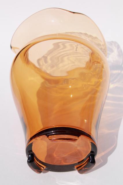 art deco vintage amber glass vase fostoria or cambridge. Black Bedroom Furniture Sets. Home Design Ideas