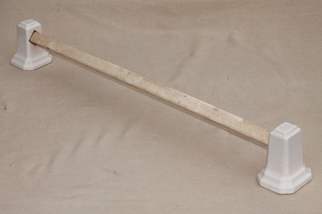 art deco vintage bathroom / kitchen towel bar, antique ironstone china architectural fittings