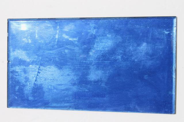 Art Deco Vintage Beveled Edge Glass Mirror Cobalt Blue