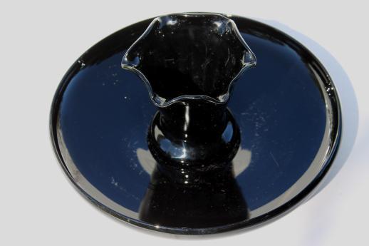 Art deco vintage black glass centerpiece vase shallow