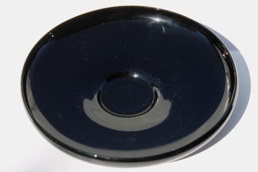 Art Deco Vintage Black Glass Centerpiece Vase Shallow Flower Bowl