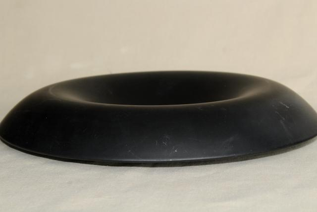 art deco vintage black satin glass rolled edge console bowl, Tiffin art glass