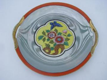 art deco vintage cake plate w/ handles, antique hand-painted Noritake china
