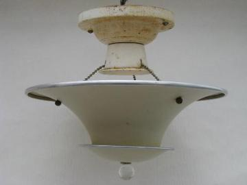 art deco vintage ceiling light fixture, tiered aluminum hanging shade