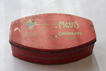 art deco vintage chocolate box candy tin Mavis Chocolats French formula chocolates