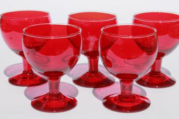 art deco vintage cocktail glasses, Morgantown ruby red glass stemware