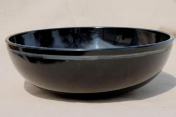 art deco vintage ebony black glass bowl, jet black flower bowl with tarnished silver