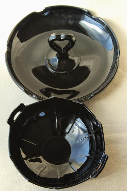 art deco vintage ebony black glass serving dishes, LE Smith depression glass
