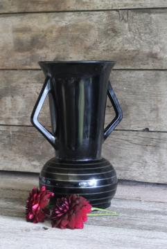 art deco vintage ebony black glass trophy vase, double handled urn w/ silver