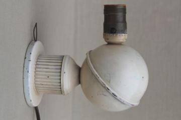 art deco vintage electric wall light sconce, industrial metal lamp w/ saturn globe shape
