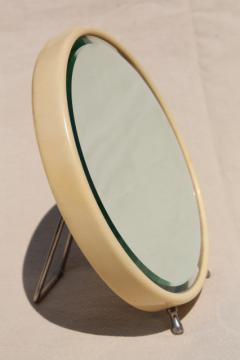 art deco vintage french ivory celluloid mirror, small round vanity mirror w/ easel stand