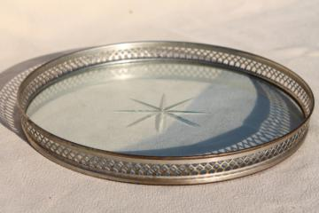 art deco vintage glass tray or tea kettle trivet w/ nickel silver round frame