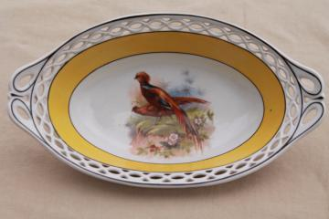 art deco vintage golden pheasant dish, Bavaria china bowl w/ reticulated border