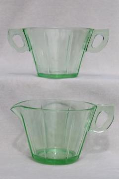 art deco vintage green depression glass cream & sugar set w/ octagonal pattern