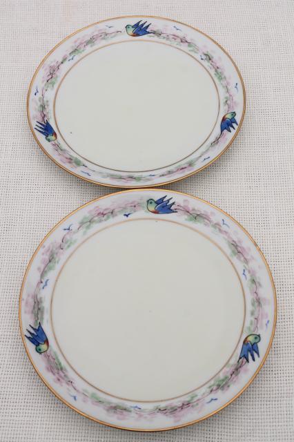 art deco vintage hand painted porcelain plates w/ blue birds antique bluebird china & art deco vintage hand painted porcelain plates w/ blue birds ...