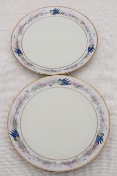 art deco vintage hand painted porcelain plates w/ blue birds, antique bluebird china