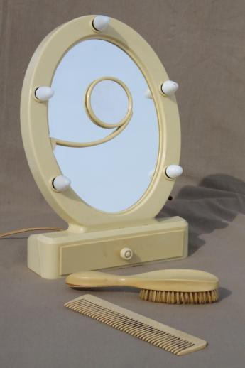 Art Deco Vintage Lighted Vanity Mirror French Ivory Celluloid Stand
