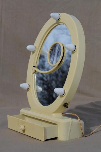 art deco vintage lighted vanity mirror, french ivory celluloid stand w/ mirror & lights