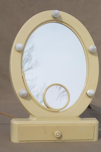 Art Deco Vintage Lighted Vanity Mirror French Ivory