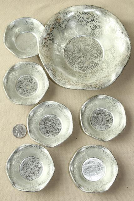 art deco vintage metal nut dishes small fluted bowls w/ silver chintz floral pattern & deco vintage metal nut dishes small fluted bowls w/ silver chintz ...
