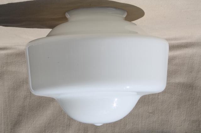 Art Deco Vintage Milk Glass Light Shade For Pendant Lamp Or Ceiling Fixture