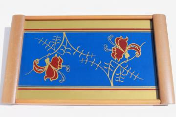 art deco vintage mod blond wood tray w/ painted glass, cobalt blue, red & gold floral