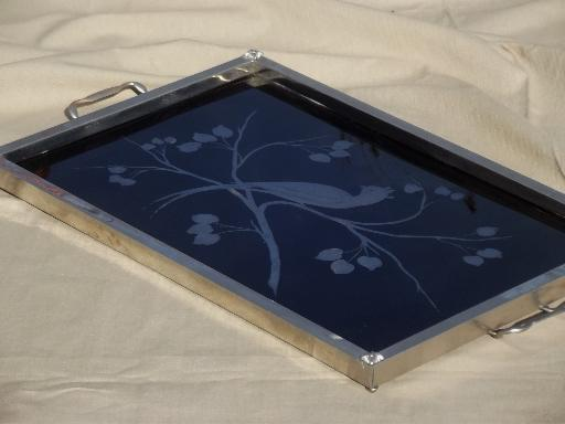 Art Deco Vintage Serving Tray Black Mirror Glass W
