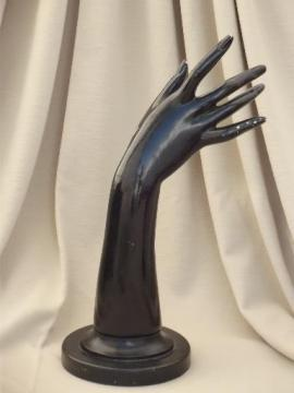 art deco vintage wood jewelry store display, graceful female hand & arm
