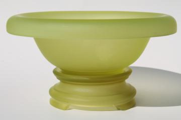 art deco vintage yellow green vaseline glass bowl and stand, frosted finish satin glass