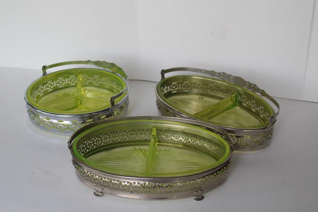Art Deco Vintage Yellow Vaseline Glass Basket Relish