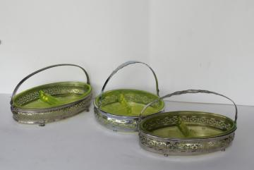 art deco vintage yellow vaseline glass basket relish dishes, ornate metal frames & handles