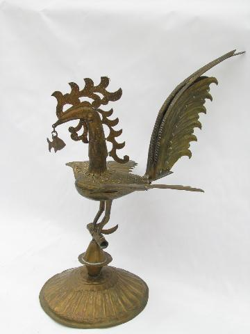 art metal rooster, all pierced and tooled brass - vintage Mexico?
